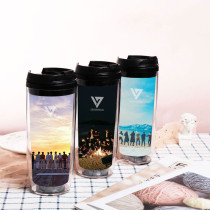 Copy Kpop SEVENTEEN Water Cup Straw Cup Plastic Cup Double-layer Portable Accompanying Cup