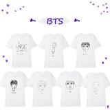 Kpop BTS T-shirt Bangtan Boys 7th Anniversary Member Mutual Portrait T-shirt Short Sleeve V SUGA JIN JIMIN