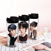 Kpop BTS Water Cup Bangtan Boys Regular Four Series Return Sippy Cup Double Plastic Curve Cup Accompanying Cup