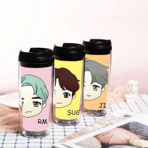 Kpop BTS Water Cup Bangtan Boys Straw Cup Pop-up Store Q Version Double Layer Plastic Curve Cup Accompanying Cup