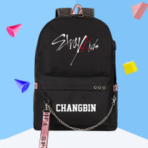 Kpop StrayKids Same Shoulder Bag USB Rechargeable Canvas Bag Leisure Travel Backpack BANG CHAN CHANGBIN FELIX  MINHO