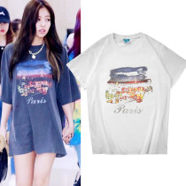 Kpop Blackpink T-shirt Jennie Same Short-sleeved T-shirt Fashion Street Trend Short-sleeved