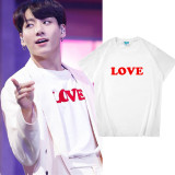 Kpop BTS  T-shirt Bangtan Boys JUNGKOOK Same Peripheral Short-sleeved T-shirt Half-sleeved Loose Cotton T-shirt