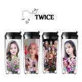 Kpop TWICE Water Cup Return Album MORE&MORE Photo Water Cup Double Plastic Straw Cup Traveling Cup