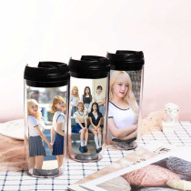 Kpop IZONE Water Cup Double-layer Plastic Cup Straw Cup Accompanying Cup Choi Yena  KIM CHAE WON  Kwon Eun Bi