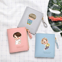 Kpop BTS Wallet Bangtan Boys Wallet Short Wallet Cartoon Q Version Portable Storage Bag Coin Purse