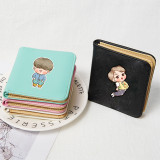 Kpop BTS Wallet Bangtan Boys Wallet Hand-painted Cartoon Q Version Short Wallet Coin Purse Card Case Storage Bag