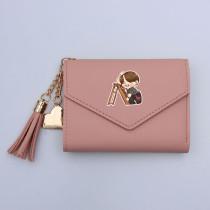 Kpop BTS Wallet Bangtan Boys Card Bag Hand-painted Cartoon Q Version Tassel Card Bag Short Folding Coin Purse