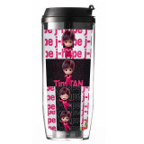 Kpop BTS Water Cup Bangtan Boys TinyTAN Double Plastic Straw Cup Portable Accompanying Cup