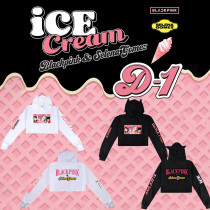 Kpop BLACKPINK Sweater New Song Ice Cream Hooded Sweater Crop Top Hoodie JENNIE JISOO LISA ROSE