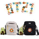 Kpop BTS Shoulder Bag Bangtan Boys Shoulder Bag Flower Crossbody Canvas Bag Small Square Bag