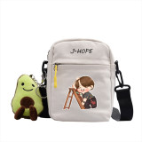 Kpop Bangtan Boys Run BTS Shoulder Bag Crossbody Bag Canvas Small Square Bag