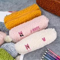Kpop BTS Pencil Case Bangtan Boys New Album Dynamite Stationery Bag Lamb Hair Storage Bag