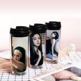 Kpop BLACKPINK Water Cup Summer Seoul Pictorial Double Plastic Straw Cup Accompanying Cup JENNIE JISOO LISA ROSE