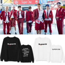 Kpop Super M Sweater Round Neck Sweatshirt Pullover Jacket Plus Fleece Sweatshirt