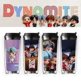 Kpop BTS Water Cup Bangtan Boys TinyTAN Water Cup Double-layer Plastic Straw Cup Portable Cup