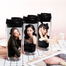 Kpop BLACKPINK Water Cup Straw Cup Plastic Cup Portable Travel Cup JENNIE JISOO LISA ROSE
