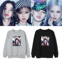 Kpop BLACKPINK Sweater New Album The Album Round Neck Sweater Plus Fleece Thin Sweatshirt