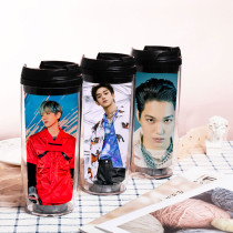 Kpop SuperM Water Cup Regular Album SUPER ONE Returns  Plastic Straw Cup Accompanying Cup