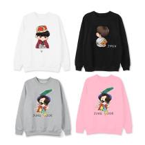 Kpop BTS Sweater Bangtan Boys Run Round Neck Sweatshirt Pullover Jacket Plus Velvet Thin Sweatshirt