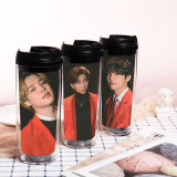 Kpop BTS Water Cup Bangtan Boys MOTS ON:E Concert Water Cup Double Plastic Straw Cup Curved Traveling Cup