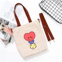 Kpop BTS Canvas Bag Bangtan Boys Canvas Bag Cartoon Cute Handbag Shoulder Bag All-match Storage Bag