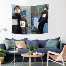 Kpop BTS Tapestry Bangtan Boys Tapestry Pictorial Tapestry Sitting Blanket Digital Printing 3D Wall Cloth Bedroom Living Room Decoration