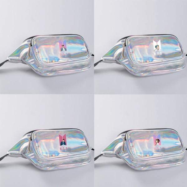 Kpop BTS Waist Bag Bangtan Boys New Album Dynamite Waist Bag PU Laser Storage Bag Sports Bag Travel Bag