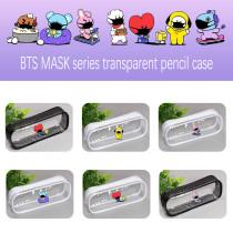 Kpop BTS Pencil Case Bangtan Boys MASK Series Pencil Case Storage Bag Transparent Plastic Zipper Stationery Bag Creative Coin Purse