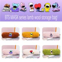 Kpop BTS Pencil Case Bangtan Boys Pencil Case MASK Series Zipper Lamb Hair Storage Pencil Case Stationery Bag