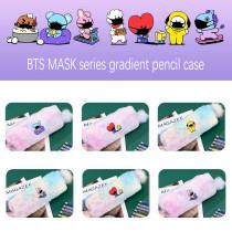Kpop BTS Pencil Case Bangtan Boys MASK Series Pencil Case Gradient Color Plush Pencil Case Storage Bag Coin Purse