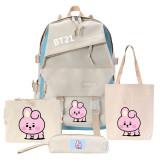 Kpop 4Pc/Set BTS Backpack Bangtan Boys Baby School Bag Crossbody Bag CHIMMY COOKY KOYA TATA
