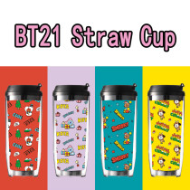 Kpop BTS Water Cup Bangtan Boys Water Cup Straw Cup Double Insulation Outdoor Cup