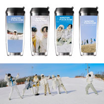 Kpop BTS Water Cup Bangtan Boys Album WINTER PACKAGE Water Cup Straw Cup Double Insulation Cup