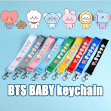 Kpop BTS Keychain Bangtan Boys Name Bar Cute Pendant Keychain Mobile Phone Lanyard Schoolbag Ribbon Lanyard