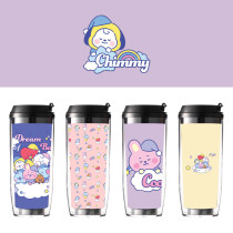 Kpop BTS Water Cup Bangtan Boys A Dream of Baby Double Plastic Portable Straw Cup