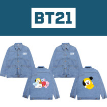 Kpop BTS Denim Jacket Bangtan Boys Literary Fresh Printed Top Denim Jacket CHIMMY COOKY KOYA TATA