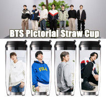 Kpop BTS Water Cup Bangtan Boys Straw Cup Double Plastic Outdoor Sports Office Cup