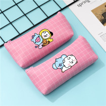 Kpop BTS Pencil Case Bangtan Boys Baby Series Pencil Case PU Plaid Coin Purse Stationery Case Clutch