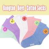 Kpop BTS Cotton Socks Bangtan Boys Cartoon Cute Printed Cotton Socks Socks Macaron Color Sweet Casual Socks