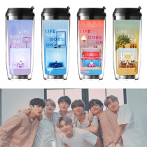 Kpop BTS Water Cup Bangtan Boys Album BE LIFE GOES ON Straw Cup Double Plastic Outdoor Sports Office Cup