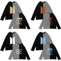 Kpop BTS T-shirt Bangtan Boys Short Sleeve BE Stitching Striped T-shirt Round Neck Loose Casual Short Sleeve Top