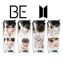 Kpop BTS Water Cup Bangtan Boys Straw Cup Simple Straight Drinking Cup Outdoor Water Cup Portable Handy Cup Plastic Cup