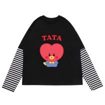 Kpop BTS Long Sleeve T-Shirt Bangtan Boys BABY Series Long Sleeve T-Shirt Striped Bottom Shirt