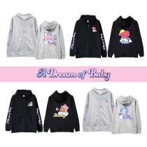 Kpop BTS Zipper Sweater Bangtan Boys DREAM OF BABY Series Hooded Jacket Zipper Sweater Spring and Autumn Korean Cardigan