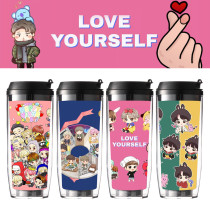 Kpop BTS Water Cup Bangtan Boys Cup Cartoon Portable Student Plastic Water Cup Outdoor Leisure Sports Large Capacity Cup