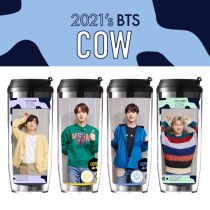 Kpop BTS Water Cup Bangtan Boys Cartoon Straw Cup Double-layer Plastic Handy Portable Cup Creative Student Gift Water Cup