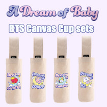 Kpop BTS Cup Sets Bangtan Boys DREAM OF BABY Series Cup Holder Canvas Cup Holder Heat Insulation Water Cup Storage Bag