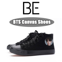 Kpop BTS Canvas Shoes Bangtan Boys BE Album Pictorial Photo Canvas Shoes Lace-up High-Top Flat Boots