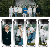 Kpop BTS Water Cup Bangtan Boys Double Plastic Cup Cup Outdoor Travel Leisure Cup Portable Cup